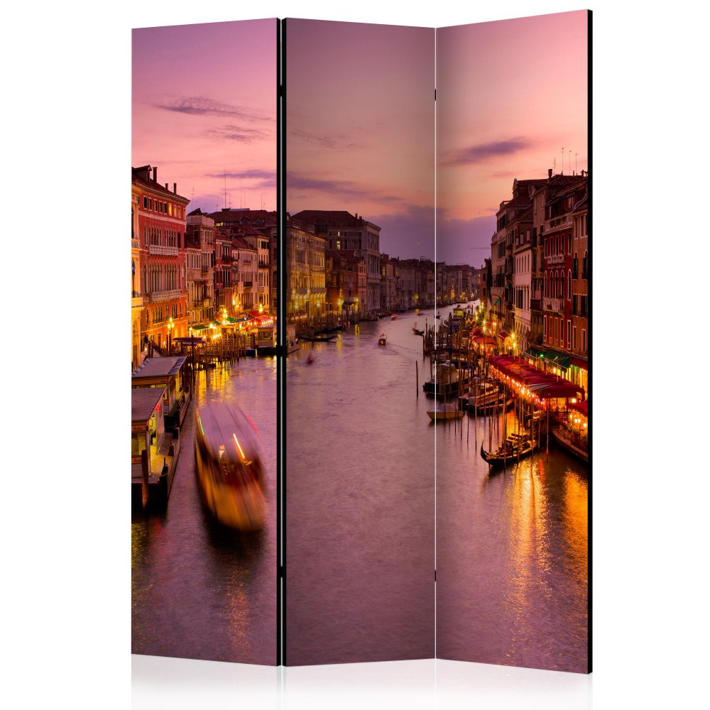 Paraván City of lovers, Venice by night Dekorhome 135x172 cm (3-dílný)