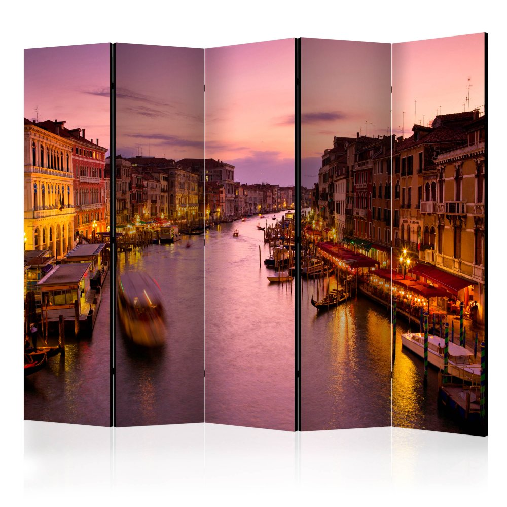 Paraván City of lovers, Venice by night Dekorhome 225x172 cm (5-dílný)