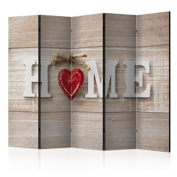 Paraván - Room divider - Home and red heart