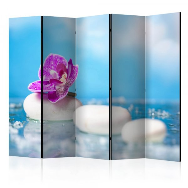 Paraván - Pink Orchid and white Zen Stones II [Room Dividers]