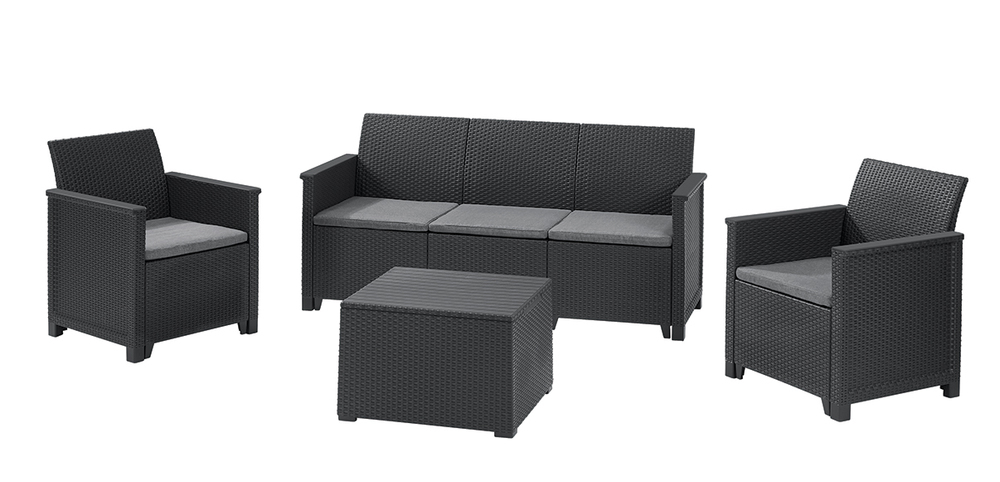 EMMA 3 seaters sofa set Allibert Grafit